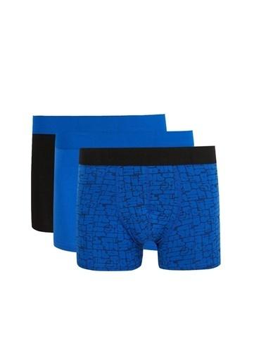 Defacto –Fit Esnek Kumaş Standart Kalıp 3'lü Boxer Mavi